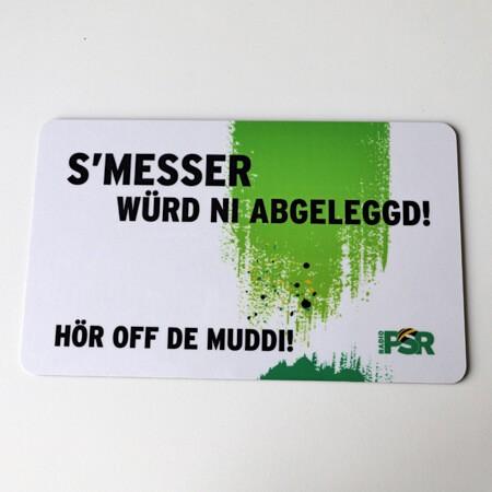 """RADIO PSR Frühstücksbrettchen """"S'Messer..."""""""